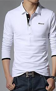 男性用 Polo ビジネス / カジュアル / 活発的 シャツカラー ソリッド コットン / 長袖