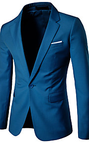 Men's Daily Business / Simple / Casual Spring / Fall Plus Size Regular Blazer, Solid Colored Notch Lapel Long Sleeve Rayon Oversized Wine / Light Blue / Light gray 4XL / XXXXXL / XXXXXXL / Slim