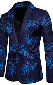 Per uomo Casual / Serata Primavera / Estate Standard Giacca A V Manica lunga Cotone / Poliestere Con stampe Blu / Rosso XL / XXL / XXXL / Taglia piccola