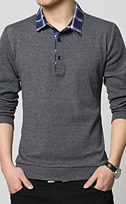 男性用 ワーク Polo シャツカラー ソリッド / カラーブロック コットン / 長袖