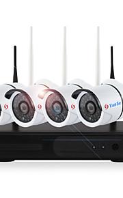 yanse® 4ch trådløse nvr kits 720p vandtæt ir nattesyn sikkerhed wifi ip kamera 36leds overvågning cctv system hjem hd