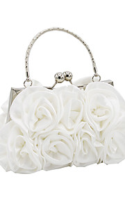 Women's Bags Satin Evening Bag Flower for Wedding Event/Party All Seasons Champagne White Black Red Silver