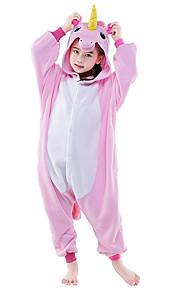 아동용 올인원 캐릭터 파자마 Unicorn 페가수스 동물 점프수트 파자마 폴라 플리스 핑크 / 화이트 + 블루 / 화이트 + 핑크 코스프레 에 대한 남학생과 여학생 동물 잠옷 만화 페스티발 / 홀리데이 의상