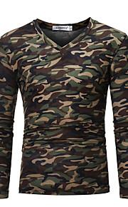 V-hals Tynd Herre - camouflage Bomuld Militær Plusstørrelser T-shirt Brun XL / Langærmet / Efterår