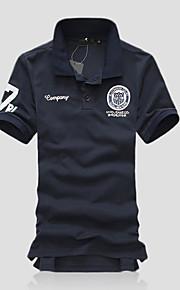 男性用 プリント / ベーシック Polo 活発的 シャツカラー スリム レタード コットン / 半袖