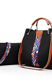 Women's Bags PU Bag Set 2 Pieces Purse Set Zipper for Casual Office & Career All Seasons Black Red Blushing Pink Gray Brown