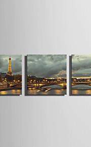 LED-kanvaskonst Landskap Tre paneler Fyrkantig väggdekor Hem-dekoration