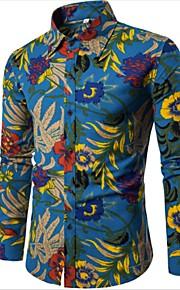 男性用 シャツ ボヘミアン スリム フラワー リネン / 長袖 / プラスサイズ
