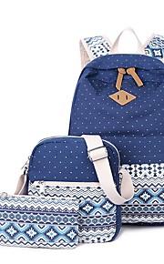 Women's Bags Canvas Bag Set 3 Pcs Purse Set Pattern / Print for Casual Outdoor All Seasons Blue Black Blushing Pink Khaki