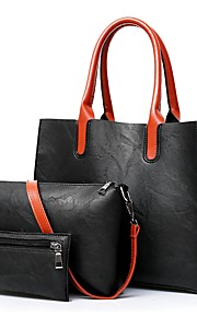 Women's Bags PU Bag Set 3 Pcs Purse Set Zipper for Casual Office & Career All Seasons Black Red Gray Brown