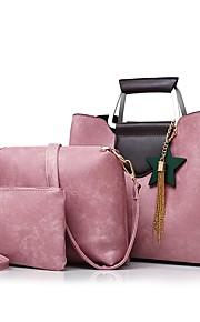 Women's Bags PU Bag Set 3 Pcs Purse Set Flower Tassel Zipper for Office & Career All Seasons Black Red Blushing Pink Gray Brown