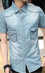 رجالي قطن قميص نحيل كاجوال لون سادة أزرق داكن XL / كم قصير / الصيف