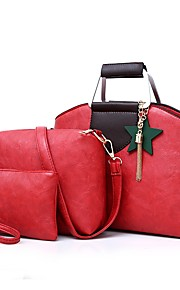 Women's Bags PU Bag Set 3 Pcs Purse Set Flower Tassel Zipper for Event/Party Outdoor All Seasons Black Red Gray Purple Brown