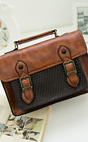 Women's Bags PU Satchel Buttons Zipper for Casual All Seasons Coffee