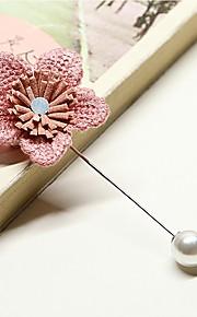 Femme Broche Perle imitée Coréen Alliage Fleur Gris Bleu Rose dragée clair Bijoux Pour Mariage Quotidien