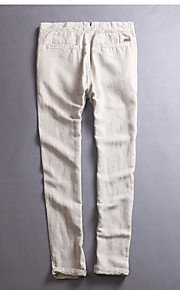 Erkek Sıradan Keten Eşoğman Altı Pantolon - Solid Beyaz / Bahar