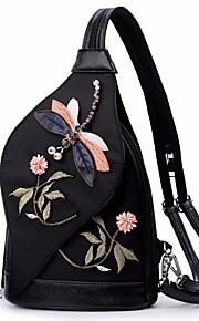 Women's Bags Nylon Sling Shoulder Bag Embroidery for Outdoor All Seasons Black