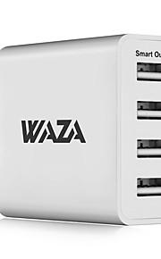 waza 25w wandoplader 4-poorts uitgang reislader 2.4a max slimme uitgang elke poort voor iphone, galaxy, lg, piexl, moto etc.