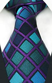 Herren Party Arbeit Rayon Krawatte - Farbe Block Check Jacquard
