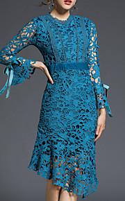 עד הברך תחרה, אחיד - שמלה נדן שרוול התלקחות מתוחכם בגדי ריקוד נשים