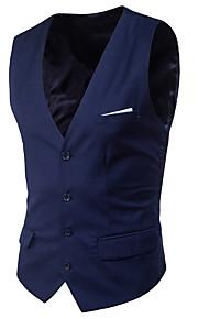 Homme Quotidien Printemps Court gilet, Couleur Pleine Col en V Sans Manches Polyester Style classique Bleu clair / Gris Clair / Bleu royal 4XL / XXXXXL / XXXXXXL