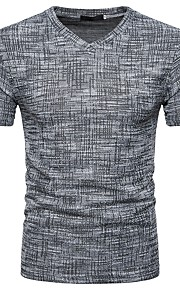 남성용 솔리드 V 넥 슬림 티셔츠, 베이직 / 스트리트 쉬크 브라운 L / 짧은 소매 / 봄 / 여름