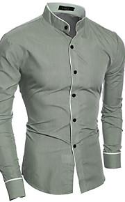 Муж. Классический Рубашка Хлопок, Воротник-стойка Тонкие Однотонный Белый L / Длинный рукав