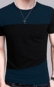 Hombre Chic de Calle Camiseta, Escote Redondo Bloques Azul Piscina XL / Manga Corta