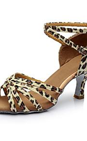 Mujer Latino Semicuero Satén Sandalia Tacones Alto Fiesta Interior Corte Tacón Personalizado Dorado Negro Plata Leopardo Nudo 2 - 2