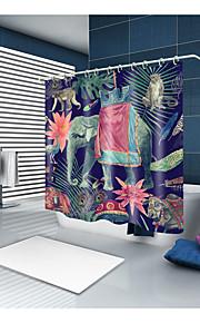 シャワーカーテン&フック 新古典主義 田園風 ポリエステル 動物 ノベルティ柄 機械製 防水 浴室