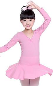 Ballet Vestidos Chica Entrenamiento Rendimiento Algodón Lazo de satén Manga Larga Cintura Media Vestido