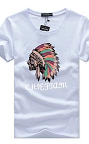 男性用 プラスサイズ Tシャツ 活発的 / ベーシック ラウンドネック スリム レタード / ポートレート コットン / 半袖
