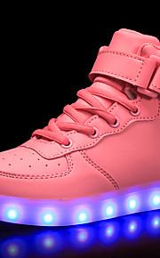Tyttöjen Tekonahka Lenkkitossut Taapero (9m-4ys) / Pikkulapset (4-7 vuotta) / Suuret lapset (7 vuotta +) Comfort / Välkkyvät kengät Solmittavat / Tarranauhalla / LED Punainen / Sininen / Pinkki Syksy