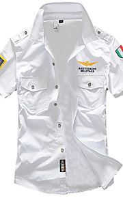 Erkek Klasik Yaka İnce - Gömlek Temel, Solid Askeri Beyaz XXL / Kısa Kollu / Yaz