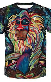 男性用 プリント プラスサイズ Tシャツ ベーシック / 誇張された ラウンドネック 幾何学模様 / カラーブロック / 半袖
