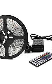 1x5M RGB ленты 300pcs светодиоды 1 пульт дистанционного управления 44Keys 1 адаптер питания X 5A RGB Можно резать Самоклеющиеся