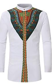 Ανδρικά Πουκάμισο Βίντατζ Tribal Όρθιος γιακάς Στάμπα Λευκό XL / Μακρυμάνικο