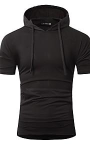 メンズTシャツ - 無地フード付き