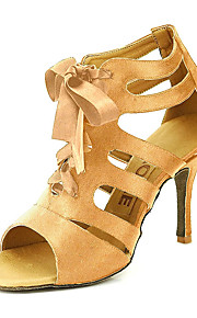 Women's Ballroom Shoes / Salsa Shoes Satin Sandal Buckle Customizable Dance Shoes Yellow / Fuchsia / Purple