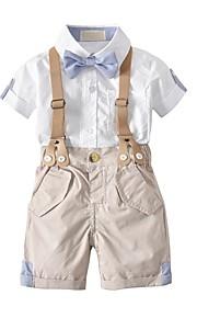 Toddler Genç Erkek Temel Günlük Solid Kısa Kollu Normal Normal Pamuklu Polyester Kıyafet Seti Beyaz