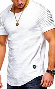 남성용 솔리드 / 줄무늬 라운드 넥 프린트 - 티셔츠, 베이직 / 스트리트 쉬크 스포츠 면 블랙 XL / 긴 소매 / 봄