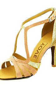 Dámské Boty na latinskoamerické tance / Standardní / Boty na salsu Satén Sandály Přezky / Stuha Na zakázku Obyčejné Taneční boty Žlutý / Fuchsiová / Fialová