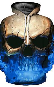 Hombre Básico / Exagerado Tallas Grandes Corte Ancho Pantalones - 3D / Cráneos Estampado Azul Piscina / Con Capucha / Manga Larga / Otoño / Invierno