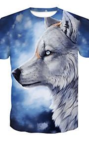 Hombre Básico / Chic de Calle Discoteca Estampado Camiseta, Escote Redondo Bloques / Animal Lobo Azul claro XXL / Manga Corta / Verano