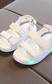 Tyttöjen PU Sandaalit Taapero (9m-4ys) / Pikkulapset (4-7 vuotta) Välkkyvät kengät Tarranauhalla / LED Musta / Keltainen / Pinkki 봄 & Syksy / Polyuretaani