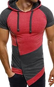 Ανδρικά T-shirt Ενεργό / Εξωγκωμένος Μονόχρωμο / Συνδυασμός Χρωμάτων / Γράμμα Με Κουκούλα Θαλασσί XL / Κοντομάνικο / Μακρύ