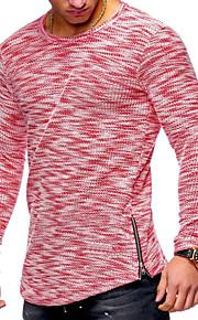 Hombre Básico / Militar Tallas Grandes Algodón Camiseta, Escote Redondo Un Color Rojo XL / Manga Larga