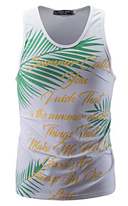 Ανδρικά Αμάνικη Μπλούζα Αθλητικά Βασικό - Βαμβάκι Γεωμετρικό / Συνδυασμός Χρωμάτων / Γράμμα Στρογγυλή Λαιμόκοψη Λεπτό Στάμπα Λευκό L / Αμάνικο
