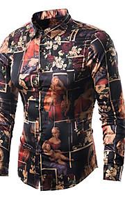 Hombre Vintage / Activo Estampado Camisa Delgado Geométrico Negro M / Manga Larga