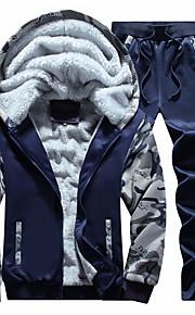 Муж. Классический Брюки - камуфляж Темно-серый / Капюшон / Длинный рукав